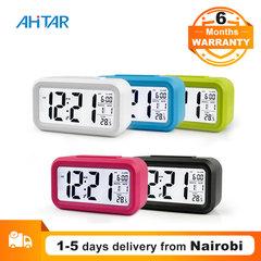 Ahitar Alarm Clock LED Desktop Digital Smart Table Clock Snooze Electronic Calendar for Kids Office White