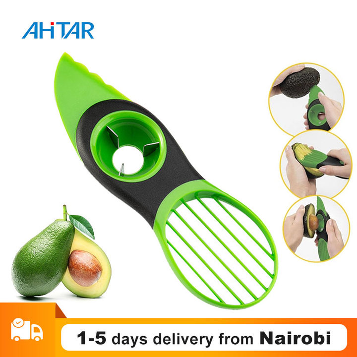 Ahitar Good Grips 3 in 1 Avocado Slicer Tool Fruit Avocado Pitter Splitter Avocado Cutter Kitchen as show one size