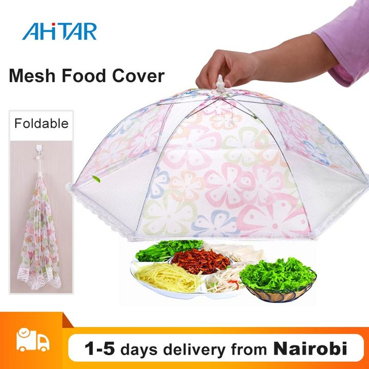 Ahitar 75cm Food Covers POP-UP Kitchen Folded Umbrella Net Mesh Screen Protect Picnic Food Cover random color Big