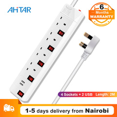 Ahitar UK EU Plug 4 Way Socket 2 USB Extension Cable Cord Adapter Charger Port Power Strip Charging As Show