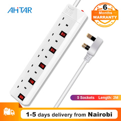 Ahitar UK Plug 5 Socket Power Strip Extension Cord Outlet Electronic Power Board Home Office iPhone as show