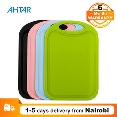 Ahitar Cutting Board PP Plastic Kitchen Safe Non-Slip Vegetable Fruit Portable Tool for Picnic BBQ Pink 324*210*3.5mm