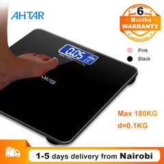 Ahitar Body Weight Scale Electronic Digital Floor Bathroom Scale LCD Display Tempered Glass 180KG Black 26*26CM