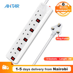 Ahitar UK EU Plug 5 Way Socket Extension Cable Cord Adapter Charger Power Strip Charging Outlet as show