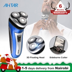 Ahitar 3D Triple Floating Rechargeable Electric Shaver for Men Sharp Barbeador Razors Beard Trimmer AHITAR BLACK