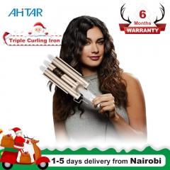Ahitar Professional Electric Curling Iron Ceramic Triple Barrel Hair Styler Curler Waver Styling AHITAR BLACK