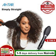 Ahitar 750F Straight Hair Straightener Comb Heat Rapid Digital Electric Ceramic Hair Brush AHITAR BLACK