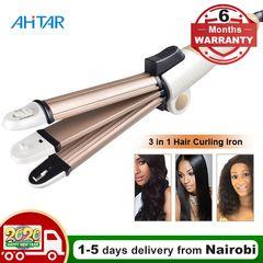 Ahitar 3 in 1 Foldable Hair Curler Folding Curling Iron Hair Straightener Flat Iron Corn Plate AHITAR BLACK