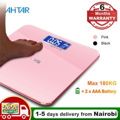 Ahitar Body Weight Scale Electronic Digital Floor Bathroom Scale LCD Tempered Glass 180KG Battery Pink 26*26CM