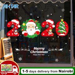 Ahitar 2020 Merry Christmas Wall Stickers Elk Window Glass New Year Room Decor Sticker Decals Santa 2020 60cm