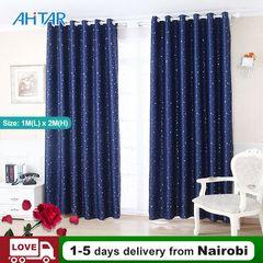 Ahitar Blackout Window Curtain Printed Star Darkening Curtains Livingroom Kids Child Bedroom Grommet Dark Blue 1M(L) x 2M(H)