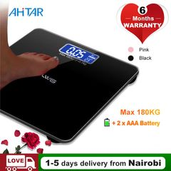 Ahitar Body Weight Scale Electronic Digital Floor Bathroom Scale LCD Tempered Glass 180KG Battery Black 26*26CM