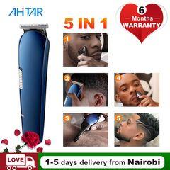 Ahitar 5 in 1 Electric Rechargeable Balding Machine Titanium Hair Clipper Shaver Beard Trimmer AHITAR BLACK