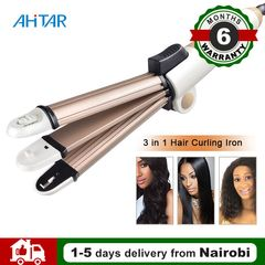 Ahitar 3 in 1 Foldable Hair Curler Folding Curling Iron Hair Straightener Flat Iron Corn Plate AHITAR BLACK