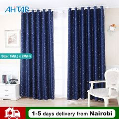Ahitar 1PC Blackout Window Curtain Tie Backs Printed Star Darkening Curtains Kids Bedroom Grommet Dark Blue 1M(L) x 2M(H)
