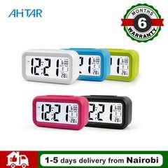 Ahitar Alarm Clock LED Desktop Digital Smart Table Clock Snooze Electronic Calendar for Kids Office Black