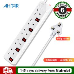 Ahitar UK EU Plug 5 Way Socket Extension Cable Cord Adapter Charger Power Port Strip Charging Outlet as show