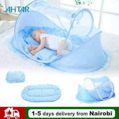 Baby Travel Bed Infant Portable Folding Mosquito Net Indoor Outdoor Crib Tent Newborn Sleep Bed Blue Normal