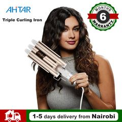 Professional Electric Curling Iron Ceramic Triple Barrel Hair Styler Curler Waver Styling AHITAR BLACK