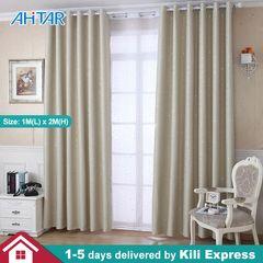 Ahitar 1PC Blackout Window Curtain Tie Backs Printed Star Darkening Curtains Kids Bedroom Grommet Beige 1M(L) x 2M(H)