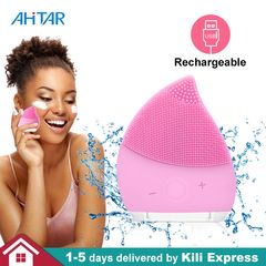 Electric Facial Cleansing Brush Silicon Vibration Face Massager Deep Cleanser Skin Rechargeable PINK