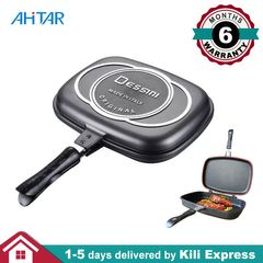 Dessini 36cm Double Grill Pan Die Cast Sided Cookware Meat Non Stick Omelette Flip Pan Home Kitchen as show 36cm