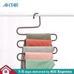 Ahitar 1PC S-Shaped Clothes Metal Hanger Holder Multi-function Pants Hangers Closet Trouser Scarf Random