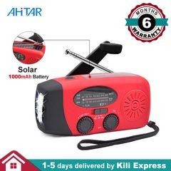 Ahitar Solar Radio AM/FM/NOAA Portable Emergency Hand Power 3W LED Flashlight 1000mAh Phone Charger Red