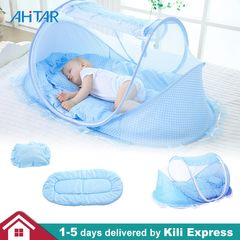 3 in 1 Baby Travel Bed Infant Portable Folding Mosquito Net Indoor Outdoor Crib Tent Newborn Sleep Blue Normal