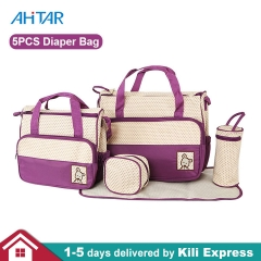 5 in 1 Mummy Baby Diaper Bag Nappy Changing Pad Waterproof Travel Mom Bottle Holder Bags Set Purple 5PCS/set