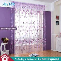 Ahitar 1PC Sheer Curtains Voile Window Rod Pocket Flower Door Curtain Panels Kitchen Bedroom Living Purple 1m(L) x 2m(H)