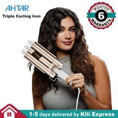 Professional Electric Curling Iron Ceramic Triple Barrel Hair Styler Curler Waver Styling AHITAR BLACK