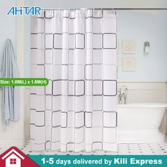 Ahitar PEVA Shower Curtain Liner Transparent Mildew Resistant Waterproof Bath Bathroom Curtains Hook as show 1.8M(L) x 1.8M(H)