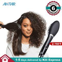 750F Straight Hair Straightener Comb Brush for 3a to 4c Hair Heat Rapid Digital Electric Ceramic AHITAR BLACK