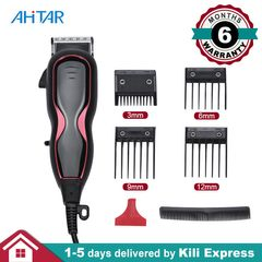 Hair Clipper Trimmer Adjustable Professional Barber Corded Haircut Balding Shaver Grooming Set Black one size