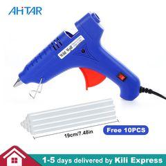 Hot Melt Glue Gun + 10PCS Free 19CM Glue Sticks 60 Watts Portable Heat Glue Gun DIY Home Repairs as show normal