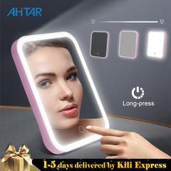 LED Makeup Mirror Cosmetic Vanity Mirror Touch Dimmer Screen Leds Halo Lighting USB Rechargeable Pink 18.2*13.5*1.2cm