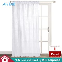 1.5x2.7M Solid White Sheer Curtain Rod Pocket Voile Window Drapes Curtains Panels for Living Bedroom 1 Panel 1.5m*2.7m