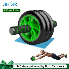 3 Wheel AB Roller Abs Knee Mat Workout Arm Waist Fitness Exerciser Wheels Home Gym Unisex Abdominal black Medium