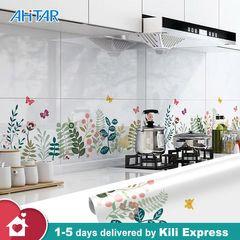 60*300cm Kitchen Backplash Wallpaper Sticker Self adhesive Aluminum Foil Anti-oil Waterproof Stove #2 60*300(CM)