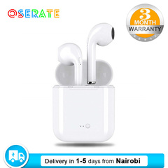 Earphones Wireless Bluetooth i7S 2Earbuds Cordless Stereo Headset with Charging Box by Oserate white