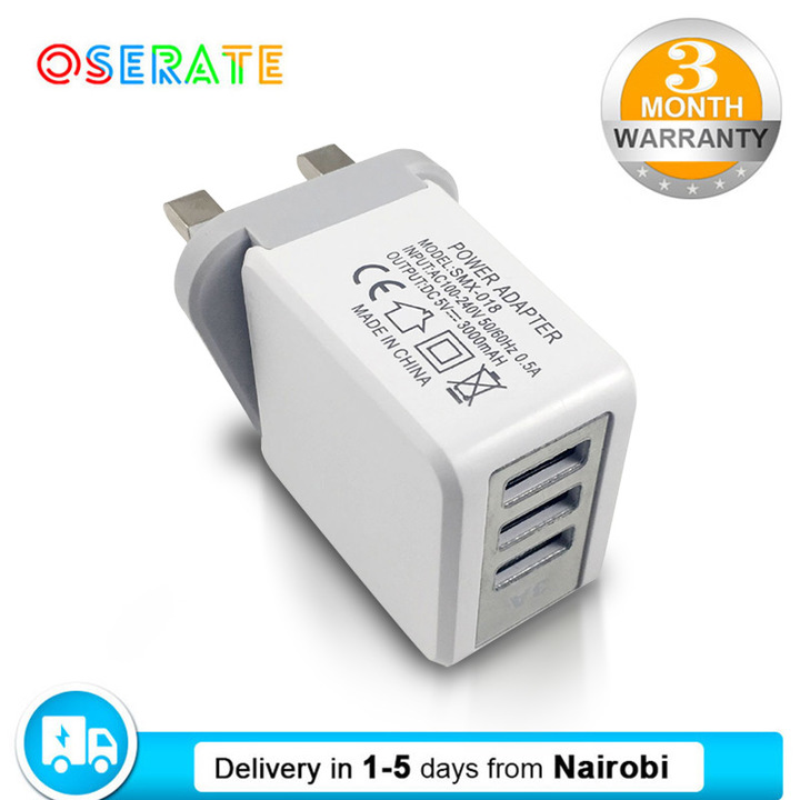 Multiple Intelligent British UK Quick Charger with Large Current Direct Charge and 3 USB Ports white charger 1