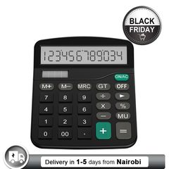 12-Digit Solar Battery Basic Calculator Solar Battery Dual Power with LCD Display Office Calculators black