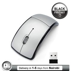 Wireless Mouse Foldable Arc Optical Cordless Mice with USB Receiver for PC Laptop Notebook Computer Silver one size
