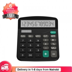 12-Digit Solar Basic Calculator Dual Power with LCD Display Office Calculators(Battery Included) black
