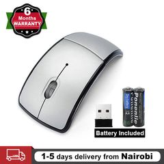 Wireless Mouse Foldable Mice 2.4ghz Arc Optical Cordless with USB Receiver for PC Laptop Computer Silver one size