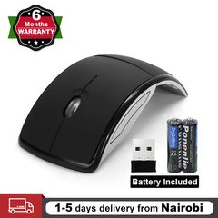 Wireless Mouse Foldable 2.4ghz Arc Optical Cordless Mice with USB Receiver for PC Laptop Computer Black one size