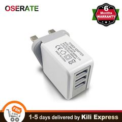 UK Wall Charger Plug 3 USB Ports Travel Fast Charger Adapter Quick Current for Phone Mobile Tablet white charger 1