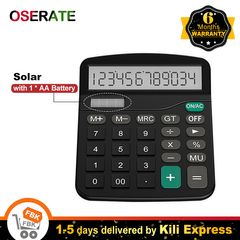 Calculator 12 Digit Solar Basic Dual Power with LCD Display Home Office Calculators Kids School black