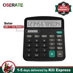 Calculator 12 Digit Solar Basic Dual Power with LCD Display Home Office Calculators Kids School black